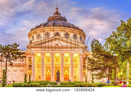 Romanian Atheneum in Bucharest landmark Romania, Europe.