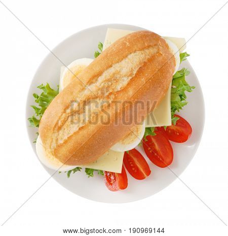crusty roll sandwich with eggs and cheese on white plate