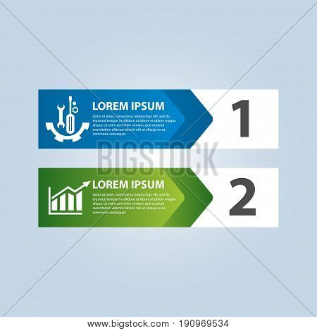 Vector Illustration In The Form Of Arrows And Numbers. Infographics With 2 Steps And Arrows For Web
