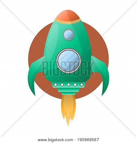 Spacious green space rocket with two round portholes, wings, fire turbine and brown circle behind isolated vector illustration on white background. Big spaceship that flies into space for exploration.