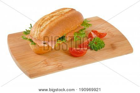French bread roll with smoked salmon