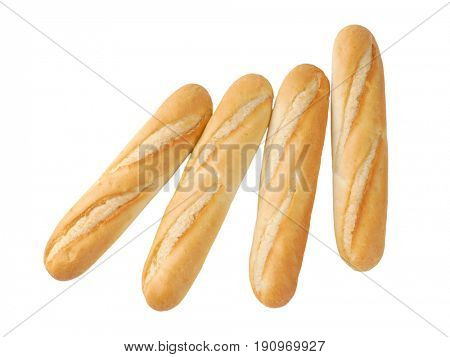 small french baguettes on white background