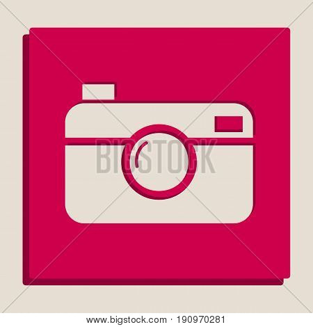 Digital photo camera sign. Vector. Grayscale version of Popart-style icon.