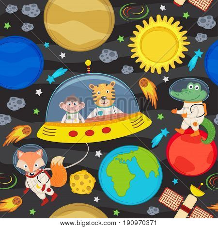 seamless pattern with spacecraft and animals - vector illustration, eps