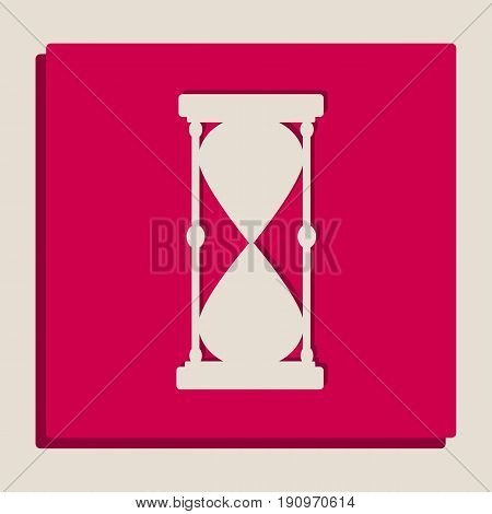 Hourglass sign illustration. Vector. Grayscale version of Popart-style icon.