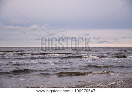 cold Baltic sea in winter in Jurmala city near Latvia capital Riga traveling Europe minimal background