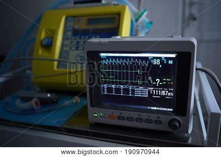 Close up shot of a vital signs monitor at the hospital operating theatre equipment technology blood pressure control operation living medicine medical clinical concept.