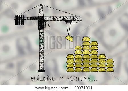 Tower Crane Laying Up A Pile Of Goldbricks