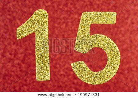 Number fifteen yellow color over a red background. Anniversary. Horizontal