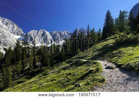 mountain road near austrian village Ehrwald Alps mountains
