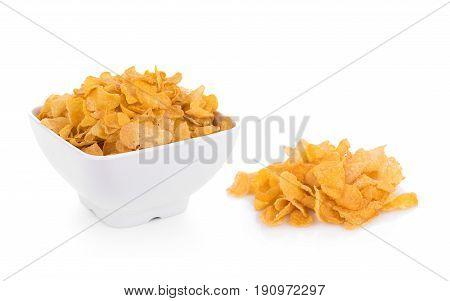Closeup Corn flakes isolated on white background