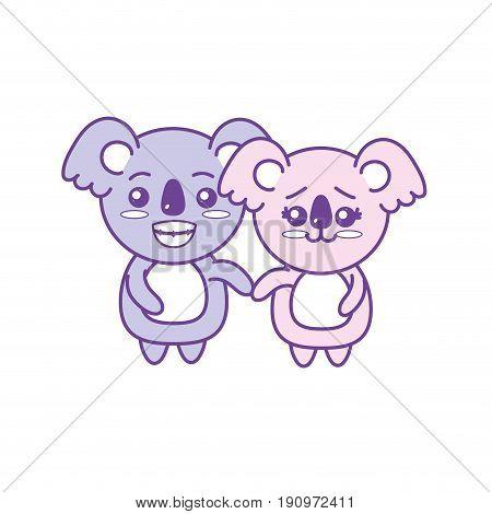 cute couple koala wild animal with beautiful expression vector illustration