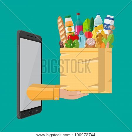Paper shopping bag full of groceries products and smartphone. Grocery store. Supermarket. Fresh organic food and drinks. Vector illustration in flat style