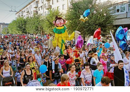Volgograd Russia - August 26 2014: People take part in the parade of circus performers