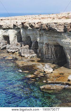 Sea Caves Of Cavo Greco Cape. Cyprus.