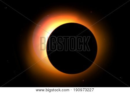 Solar eclipse with stars on background. Vector sun illustration for design