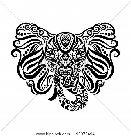 Vintage style vector elephant with ethnic tribal ornaments. Ideal ethnic background, tattoo art, yoga, African, Indian, Thai, spirituality, boho design. Use for print, posters, t-shirts textiles.