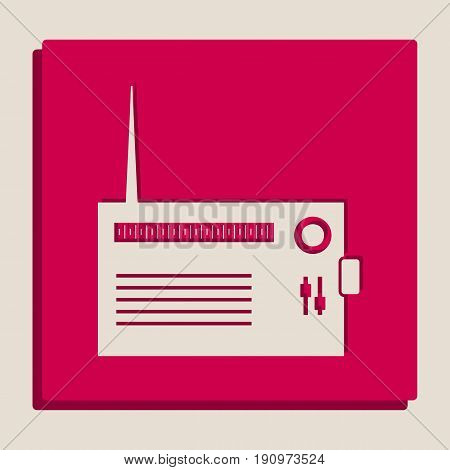 Radio sign illustration. Vector. Grayscale version of Popart-style icon.