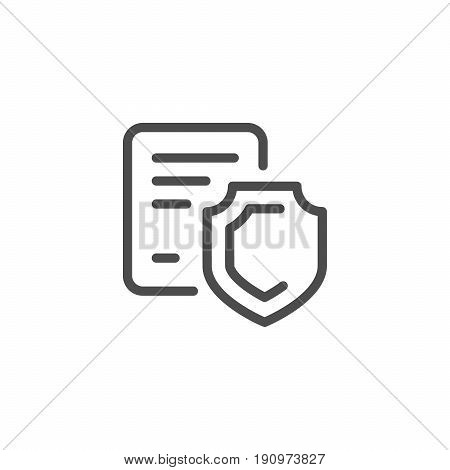 Legal protection line icon isolated on white. Vector illustration