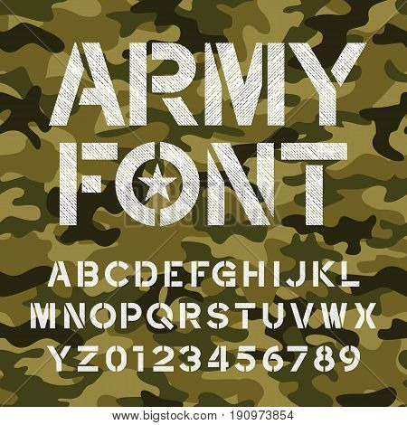 Army alphabet font. Distressed type letters and numbers on a seamless camo background. Vector typography for your design.