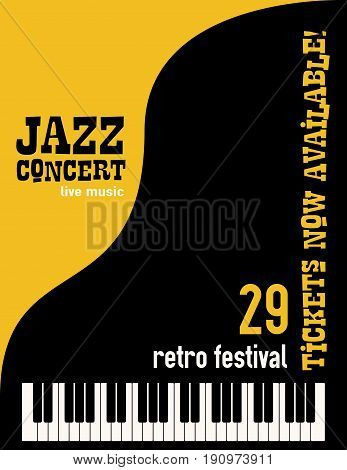 Jazz music festival poster background template keyboard with music notes flyer design. Vector illustration.