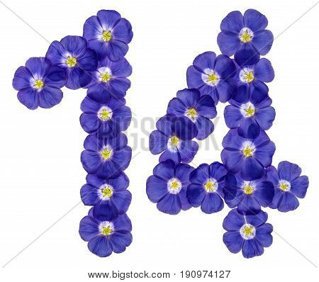 Arabic Numeral 14, Fourteen, From Blue Flowers Of Flax, Isolated On White Background