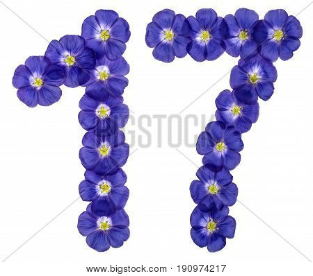 Arabic Numeral 17, Seventeen, From Blue Flowers Of Flax, Isolated On White Background