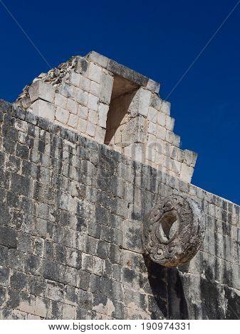 Mayan ball court goal, Chichen Itza, Mexico.