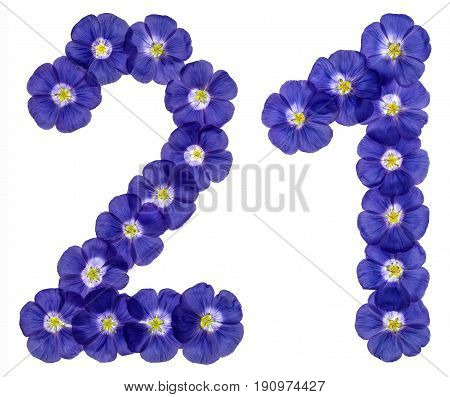 Arabic Numeral 21, Twenty One, Twenty, From Blue Flowers Of Flax, Isolated On White Background