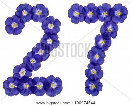 Arabic Numeral 27, Twenty Seven, From Blue Flowers Of Flax, Isolated On White Background