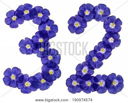 Arabic Numeral 32, Thirty Two, From Blue Flowers Of Flax, Isolated On White Background
