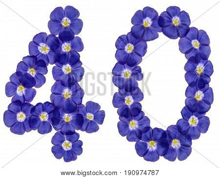 Arabic Numeral 40, Forty, From Blue Flowers Of Flax, Isolated On White Background