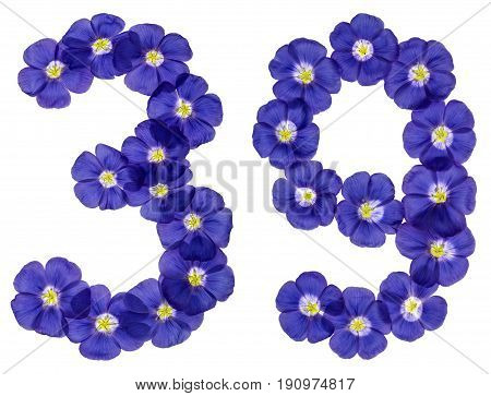 Arabic Numeral 39, Thirty Nine, From Blue Flowers Of Flax, Isolated On White Background