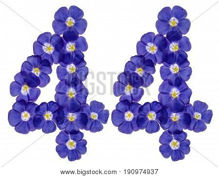 Arabic Numeral 44, Forty Four, From Blue Flowers Of Flax, Isolated On White Background