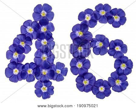 Arabic Numeral 46, Forty Six, From Blue Flowers Of Flax, Isolated On White Background