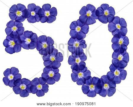 Arabic Numeral 50, Fifty, From Blue Flowers Of Flax, Isolated On White Background