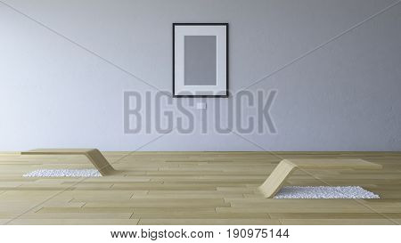 3D Rendering Image Of Gallery Room With Blank Photo Frame