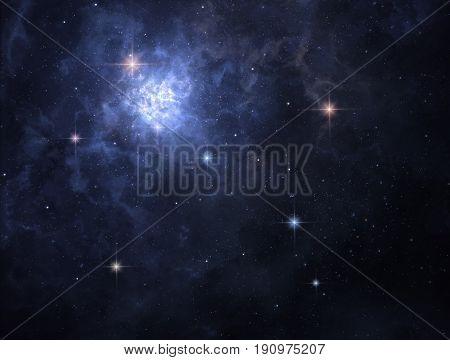 Interstellar cloud of gas is glowing deep in space
