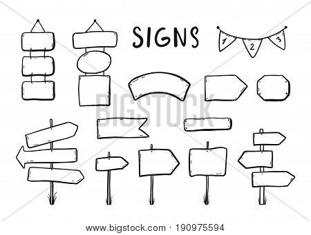 Wooden Signages, Road Signs, Direction Signs, Flags, Arrows Doodle Icons Set Hand Drawn Vector Illus
