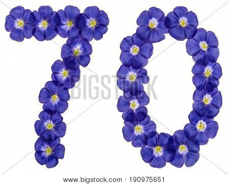 Arabic Numeral 70, Seventy, From Blue Flowers Of Flax, Isolated On White Background