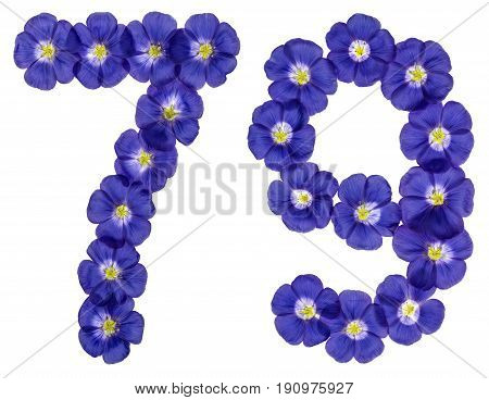 Arabic Numeral 79, Seventy Nine, From Blue Flowers Of Flax, Isolated On White Background