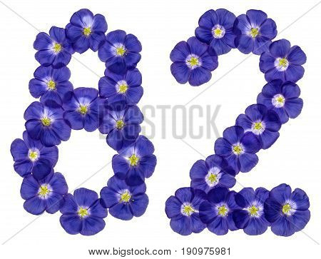 Arabic Numeral 82, Eighty Two, From Blue Flowers Of Flax, Isolated On White Background