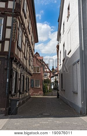 historic old town Frankfurt-Hoechst with half-timbered houses