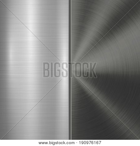 Metal technology background with circular and straight polished, brushed texture, chrome, silver, steel, aluminum for design concepts, web, prints, posters, wallpapers, interfaces. Vector illustration