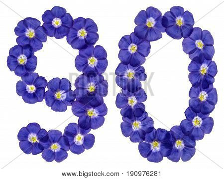 Arabic Numeral 90, Ninety, From Blue Flowers Of Flax, Isolated On White Background