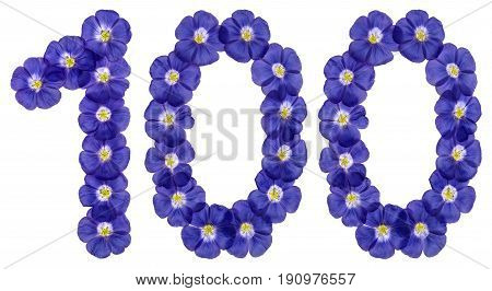 Arabic Numeral 100, One Hundred, From Blue Flowers Of Flax, Isolated On White Background