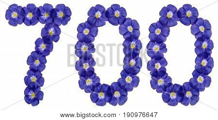 Arabic Numeral 700, Seven Hundred, From Blue Flowers Of Flax, Isolated On White Background