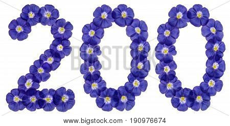 Arabic Numeral 200, Two Hundred, From Blue Flowers Of Flax, Isolated On White Background
