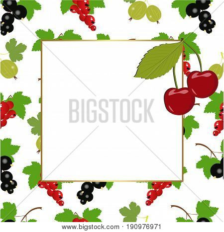 square frame with berries. red currants black currants gooseberries and cherries on a white background. vector illustration