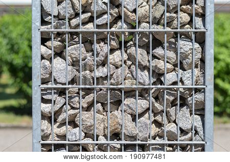 Steel Container Filled With Stones And Rocks